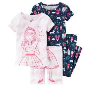 Baby & Toddler Clothing Sleepwear Shorts & Pants Pajama Pj Set Girls 12m 18m Elegant Shape Carter's Princess 4pc Tees