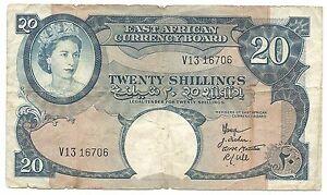 British-East-Africa-Banknote-20-Shillings-1958-1960-P39-gF-Queen-Elizabeth-Rare