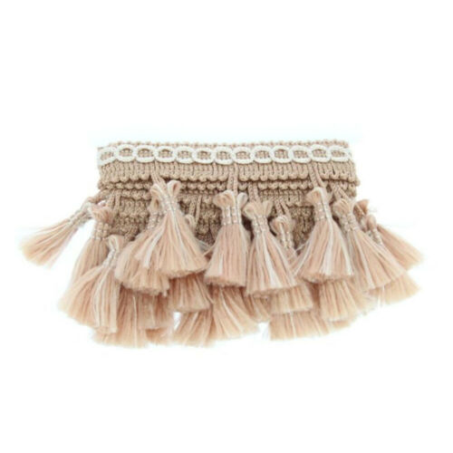 Beige 55mm Wide Tassel Fringe Edging Trim Sewing Crafts Curtains Cushions 307