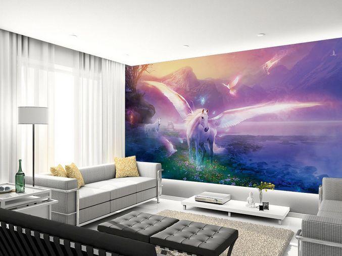 3D Cavallo Angelo Parete Murale Foto Carta da parati immagine sfondo muro stampa