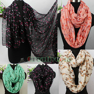 Fashion Women's Horse Animal Print Long/Infinity Scarf Snood Ladies Scarves New