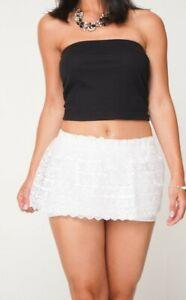 c060234f5 Detalles de Encaje Blanco Falda Corta Mujer Transparente Dobladillo  Profundo Micro Minifalda
