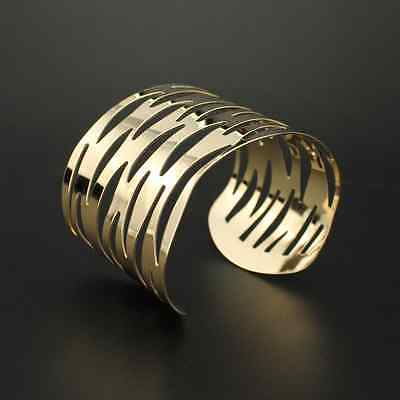 Armreif Metall Armspange 4,7 cm breit Armband GOLD -farbig Armreifen Wellen NEU