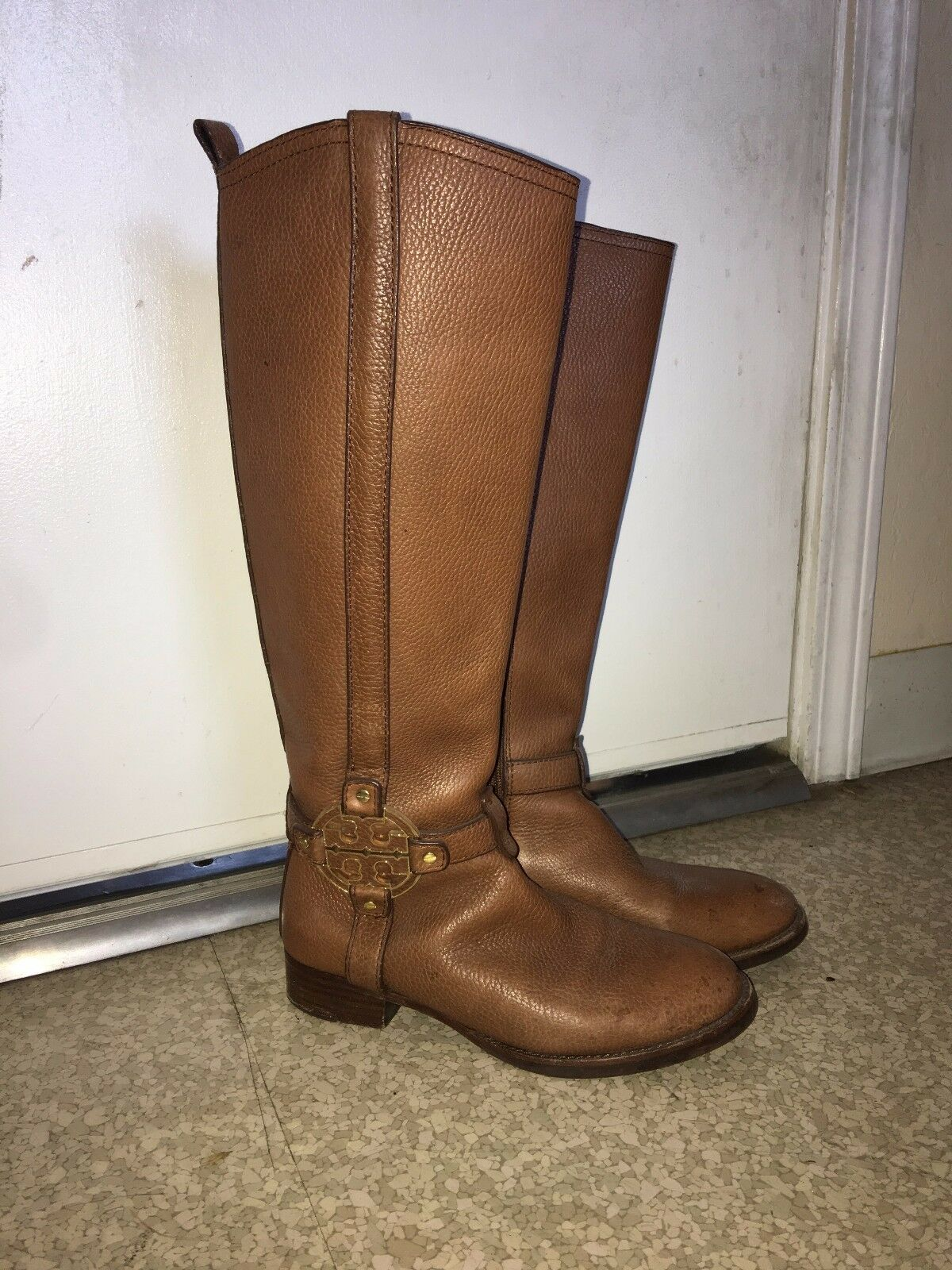 Tory Burch Brown Amanda Riding Boots Size 6 Leather Authentic Womens