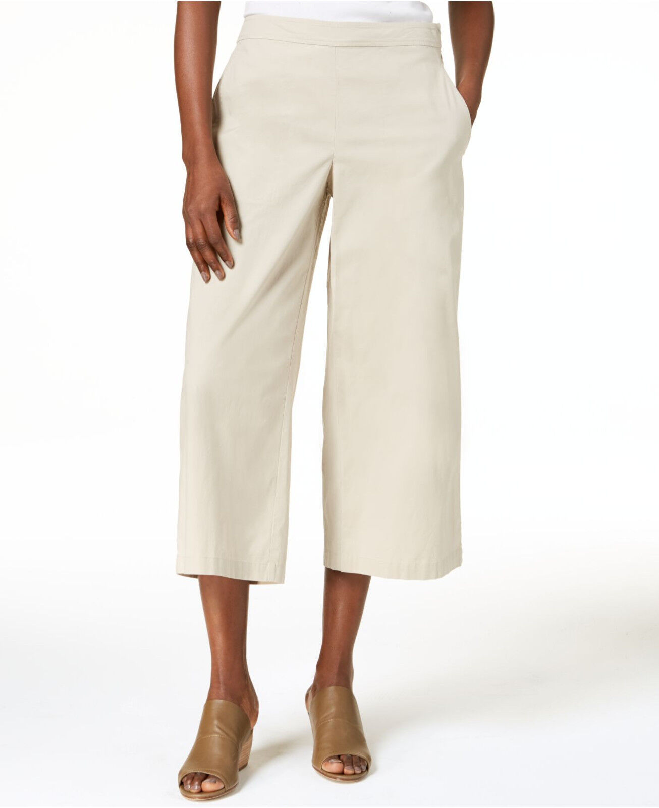 188 Eileen Fisher Pebble Organic Cotton Wide Leg Cropped Pants Petite  PP