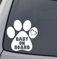 BABY ON BOARD PAW PRINT Vinyl Decal Sticker Car Window Wall Bumper Puppy Dog Cat