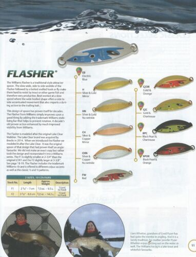 F2 Fishing Lures w//Siwash Hook Williams Flasher 2 Many colors to choose from