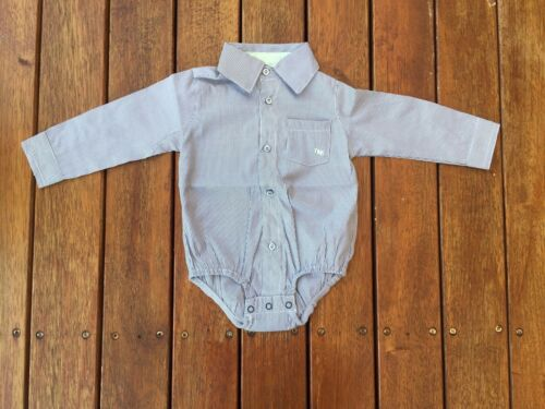 NEW Baby Boy Formal Long Sleeves Shirt Cotton Bodysuit Size 3-6-12-18 months