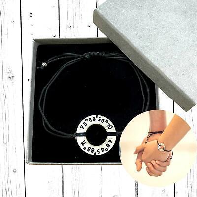 Custom Coordinate Bracelet Long Distance Relationship Gift Couples Jewellery