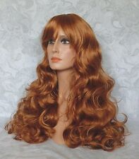 Stunning Long Wavy Bright Copper Full Synthetic Wig Wigs - #980