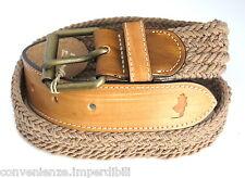 MCS Marlboro Classics Cintura in pelle e cotone intrecciato color talpa L/95