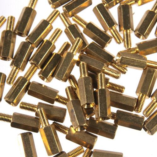Abstandsbolzen M3 x 10mm Messing sechskant Innen-//Außengewinde Abstandshalter