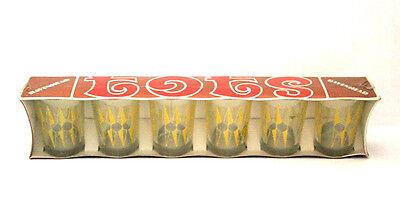 Retro RAVENSHEAD Shot Glasses In Original Packaging Yellow Diamond Decal