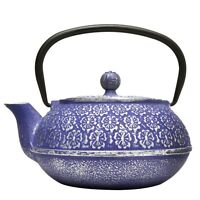 Blue Floral Cast Iron Teapot, 34-ounce, Blue Floral, New, Free Shipping on sale