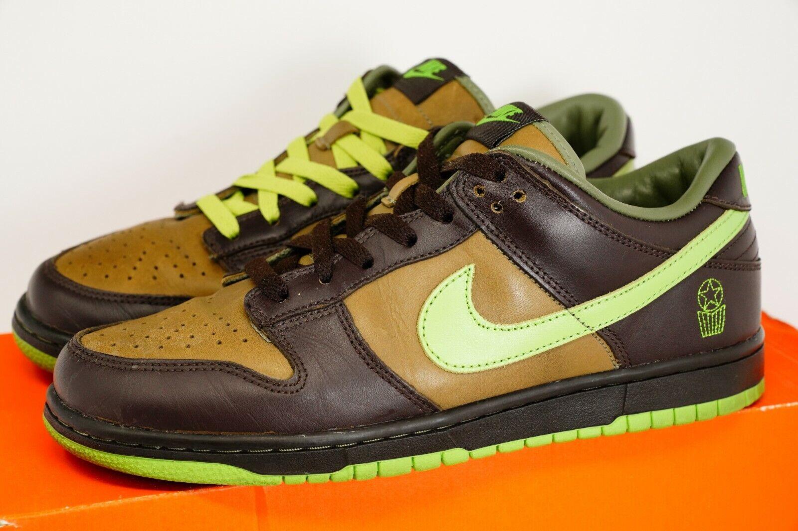 Nike Dunk Low ex ID Mundo Aros zapatos talla 10 (Cinder Judia verde Oliva 316894-232)