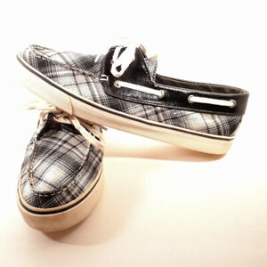 Sperry-Top-Sider-Women-039-s-Boat-Shoes-Loafers-Plaid-Canvas-Biscayne-2-Eye-11M