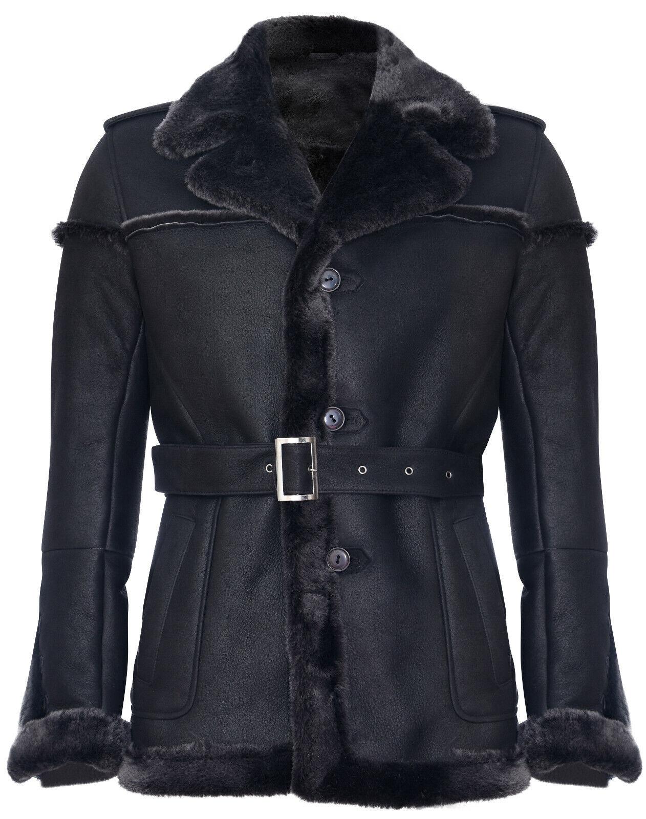 Her's Merino zwart Snowtip Real Sheepskin Suide Leer Jasje met Binden Belt