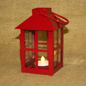 Small-Red-Metal-Lantern-w-Battery-Operated-Tea-Light-Candle