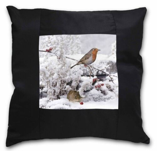 AMO-5-CSB Snow Mouse and Robin Print Black Border Satin Feel Cushion Cover With