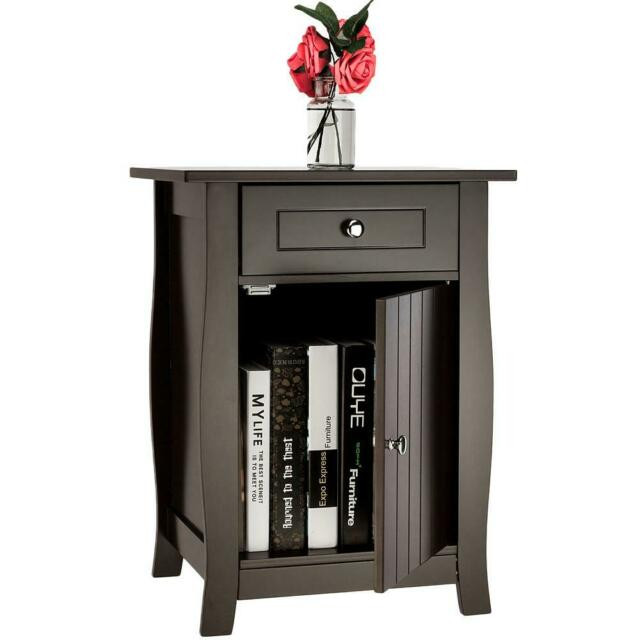 Durable Storage Cabinet Bedroom Bedside Table Locker Single Drawer Nightstand US