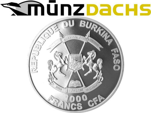 1000 Francs Poseidon Burkina Faso 1 oz .999  Fine Silver Proof 2014 only 3.500
