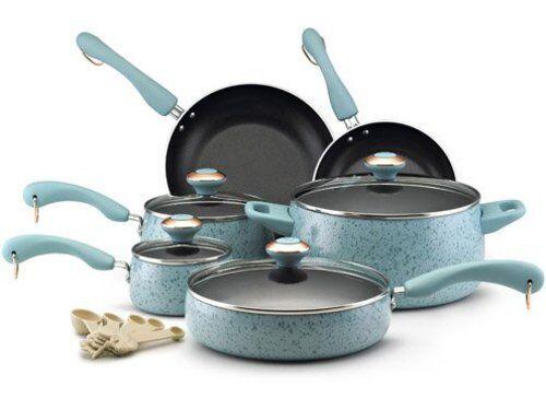 Paula Deen 15-pc. Nonstick Signature Porcelain Cookware Set, Aqua Speckle
