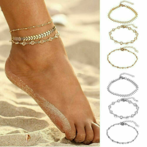 Gold Silver Ankle Bracelet Women Anklet Adjustable Chain Beach Foot Jewelry Gift