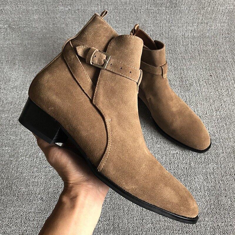 Mens 100% Real Vaca Cuero botas informales Nuevos Zapatos Hebilla Chelsea Tobillo Alto Retro
