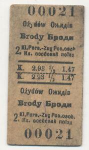 Fahrkarte-Ozydow-Brody-Osterreich-Polen-Ukraine-1918-555