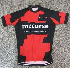 Men-039-s-Mzcurse-Front-Zip-Cycling-Biking-Jersey-2XL-XXL-Red-Black