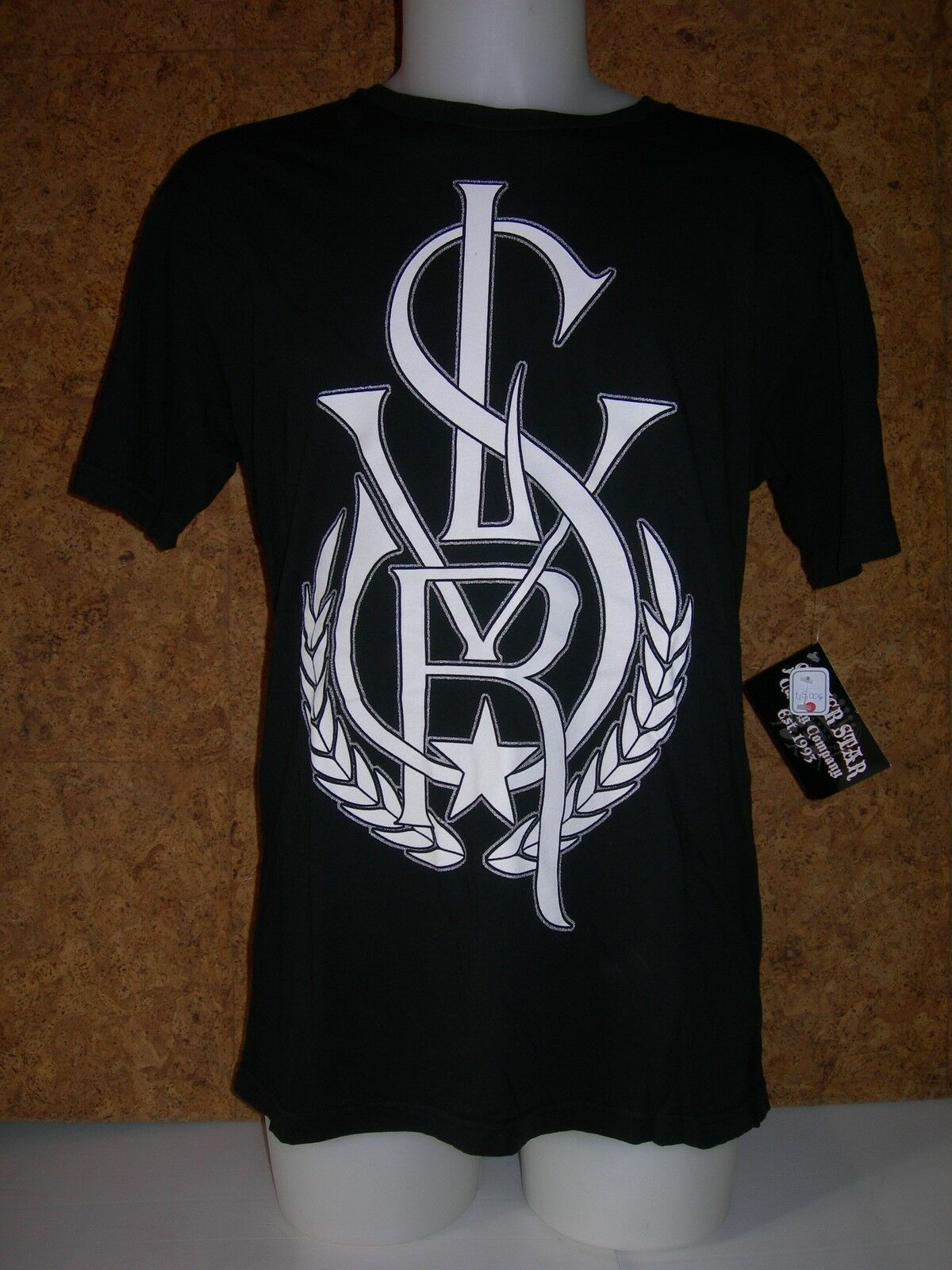Tee shirt à manches courtes, SILVER STAR, (MTE714) (MTE714) (MTE714) - noir et blanc en L, Neuf 996bfa