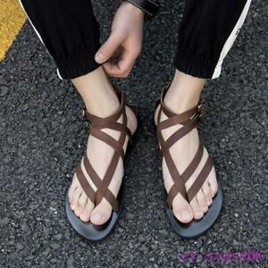 Mens-gladiator-Sandals-Leather-Roman-Shoes-boot-Clip-Toe-Thongs-Strappy-Flat-NEW