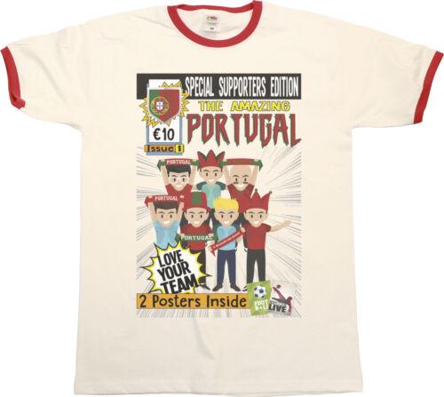 Mens Amazing PORTUGAL Football Comic Ringer T-Shirt Retro World Cup 2018
