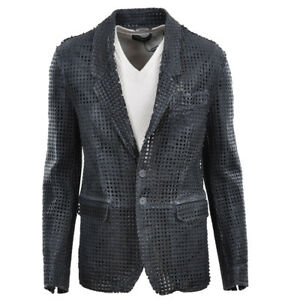 7e39d21de52c DOLCE   GABBANA RUNWAY Net Leather Jacket Grey Veste en Cuir Gris ...