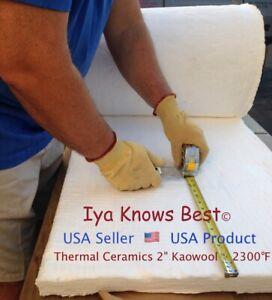 "24/""x24/""x1/"" Ceramic Fiber Insulation Blanket Wool High 2300°F Thermal Ceramics"