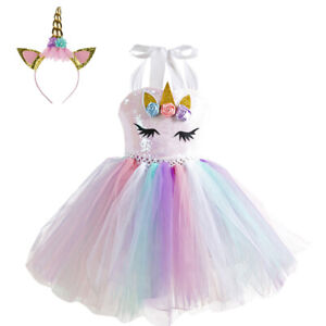 142c9b6d42f07 Details about Girls Rainbow Tutu Unicorn Dress Headband Kids Princess Party  Birthday Costume