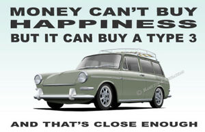 VW Type 3 Fastback 1500 1600 Art illustration Novelty Fridge Magnet