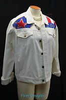 Jill Roger patriot flag bead jean jacket coat white denim red blue embellished M