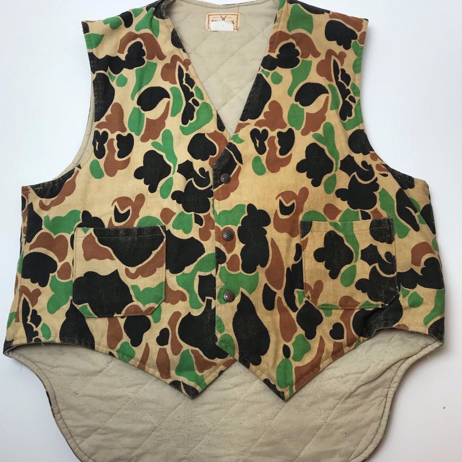 Vtg Deerskin Camo Vest Made In USA RARE AMERICAS PRIDE XL