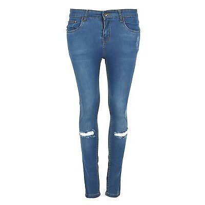 Womens Knee Ripped Jeans Ladies Regular Full Ankle Length Skinny Denim Trouser