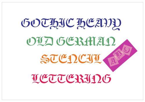 Old German fuente Carta Stencil Azulejos o Hoja 3 Tamaños 350 micras fuente Mylar 011