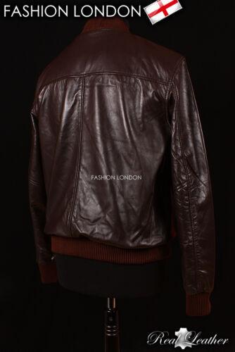 70's Men's Cool Aviator Bomber Nappa Brown Lambskin Leather Short Jacket Real ZwEFdREq