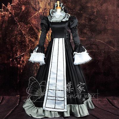 GOSICK Victorique de Blois Cosplay Kostüm Kleid Gothic Schwarz lang wig Perücke