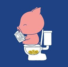 Cha Ching Piggy Bank Pig Pooping Coins Toilet Funny Parody Vinyl Sticker Window