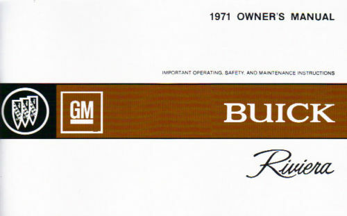 1971 BUICK RIVIERA OWNER/'S MANUAL