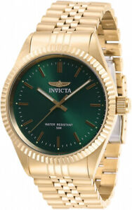 Invicta Men's Specialty Quartz Green Dial Gold Tone Stainless Steel Watch 29385