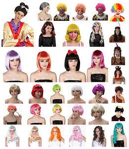 Disfraz-Hombre-Mujer-Nina-Pelucas-afro-payaso-geisha-BOB-SIRENA-LARGO-ROSA-MONJE