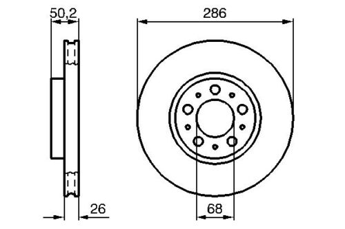 Vetech Front Vented Brake Disc 285mm Volvo Xc70 Cross Country 97-07 2.4 T Xc Awd