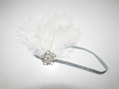 White Silver Feather Pearl Headpiece Great Gatsby Flapper Headband 1920s Vtg Y39