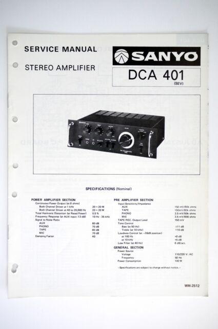Sanyo Dca 401 Amplifier Original Service Manual